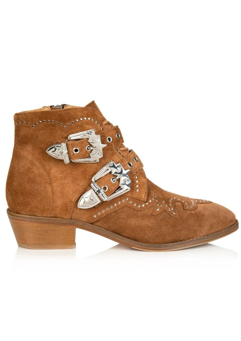 AIR & GRACE Starlight Suede Studded Ankle Boot - Tan main image