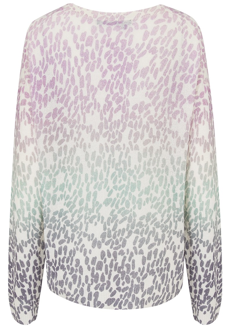 360 SWEATER Izzy Cashmere Leopard Sweater - Mallow & Seafoam main image