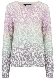 360 SWEATER Izzy Cashmere Leopard Sweater - Mallow & Seafoam
