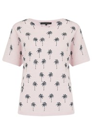 360 SWEATER Elie Cotton Palm Tree Top - Lilac Blossom & Charcoal