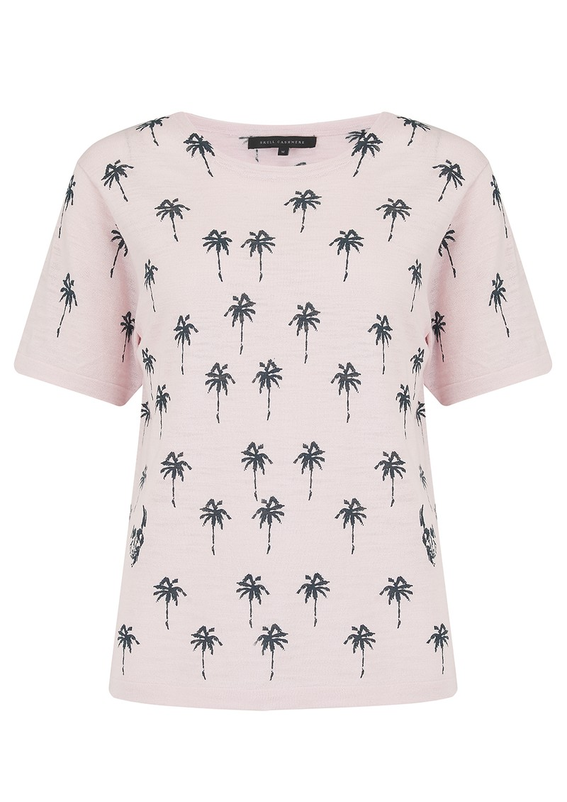 360 SWEATER Elie Cotton Palm Tree Top - Lilac Blossom & Charcoal main image