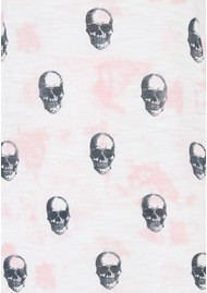 360 SWEATER Portia Skull Cotton Top - White, Pink & Charcoal