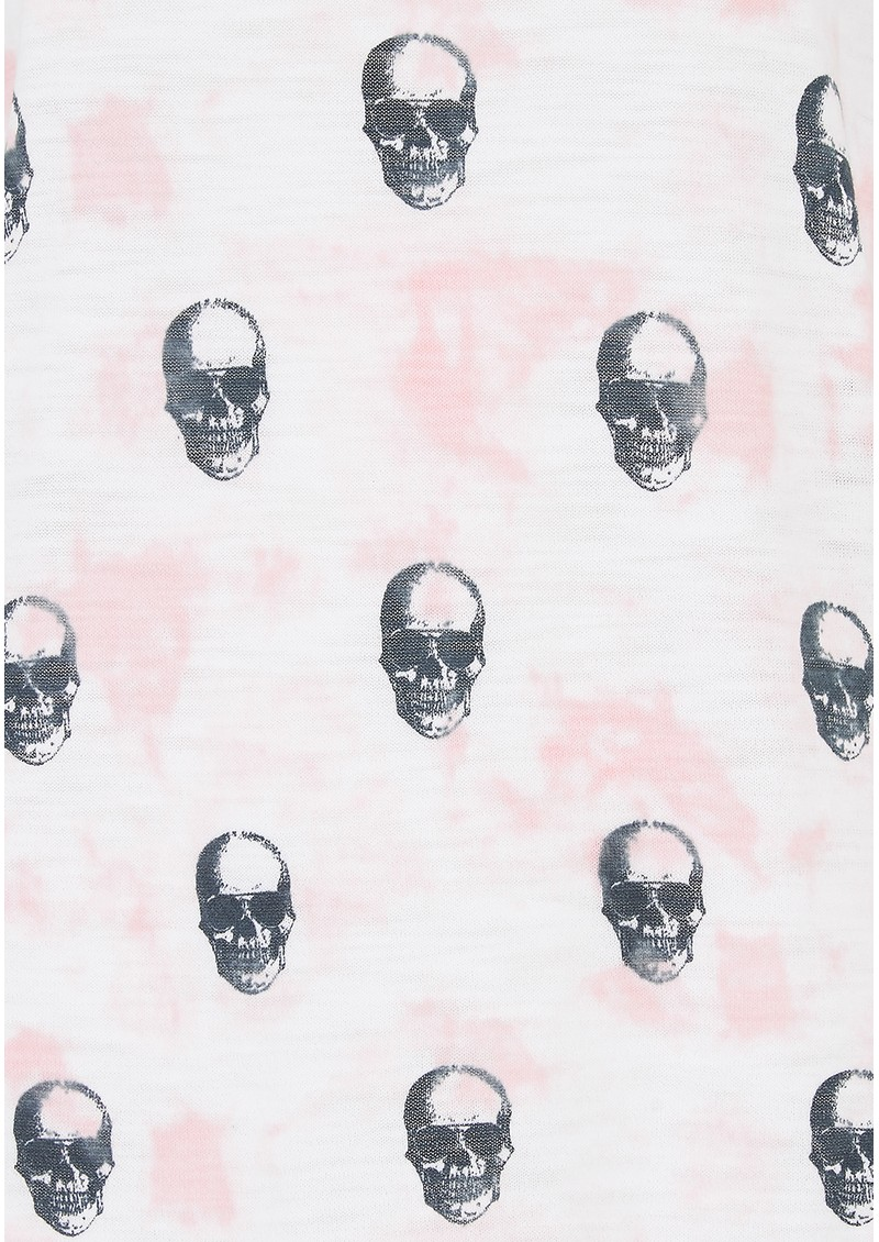 360 SWEATER Portia Skull Cotton Top - White, Pink & Charcoal main image