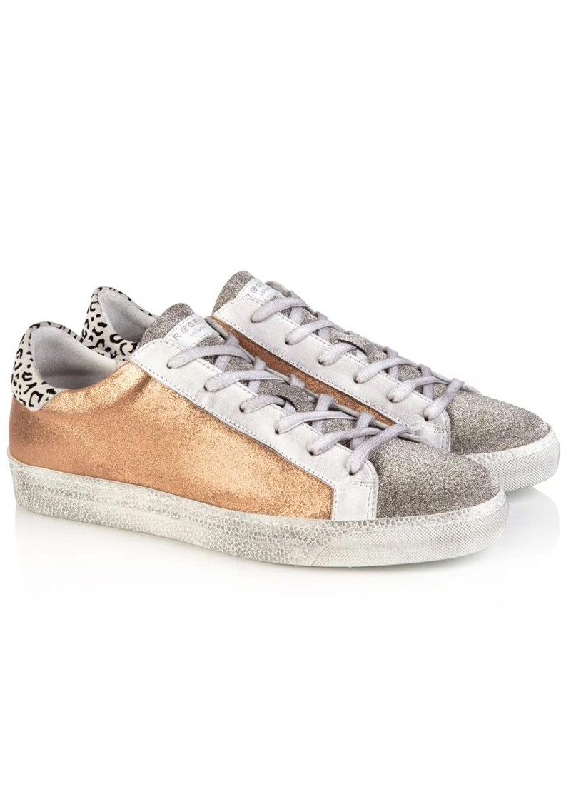 AIR & GRACE Cru Trainer - Rose Gold & Cheetah Print main image