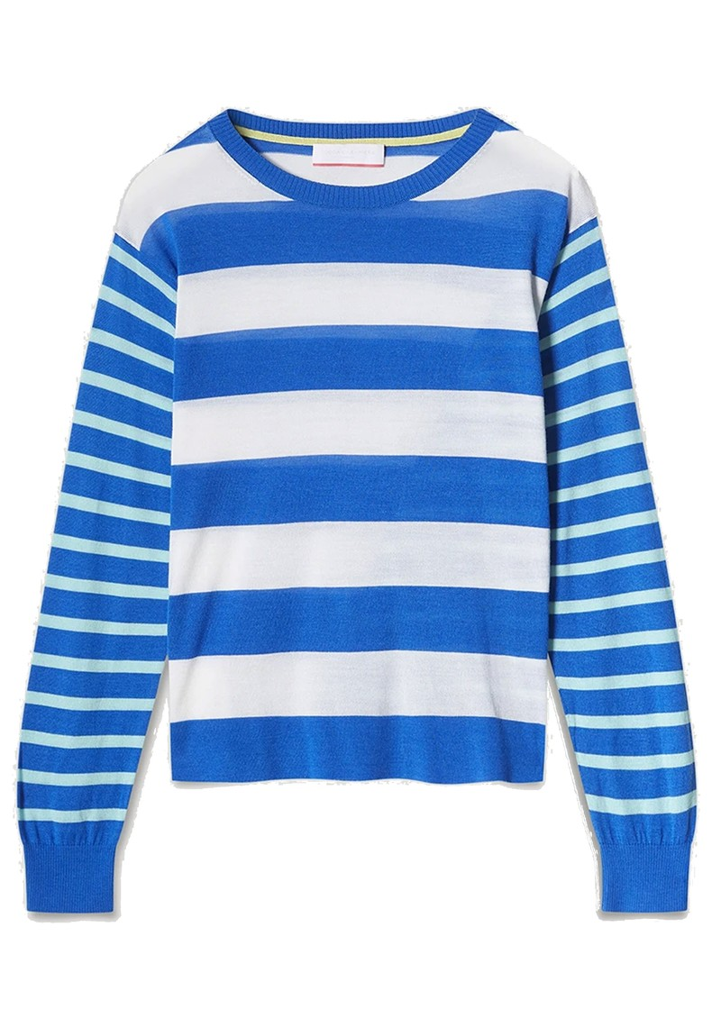 COCOA CASHMERE Alexa Striped Merino Wool Mix Jumper - Electric main image