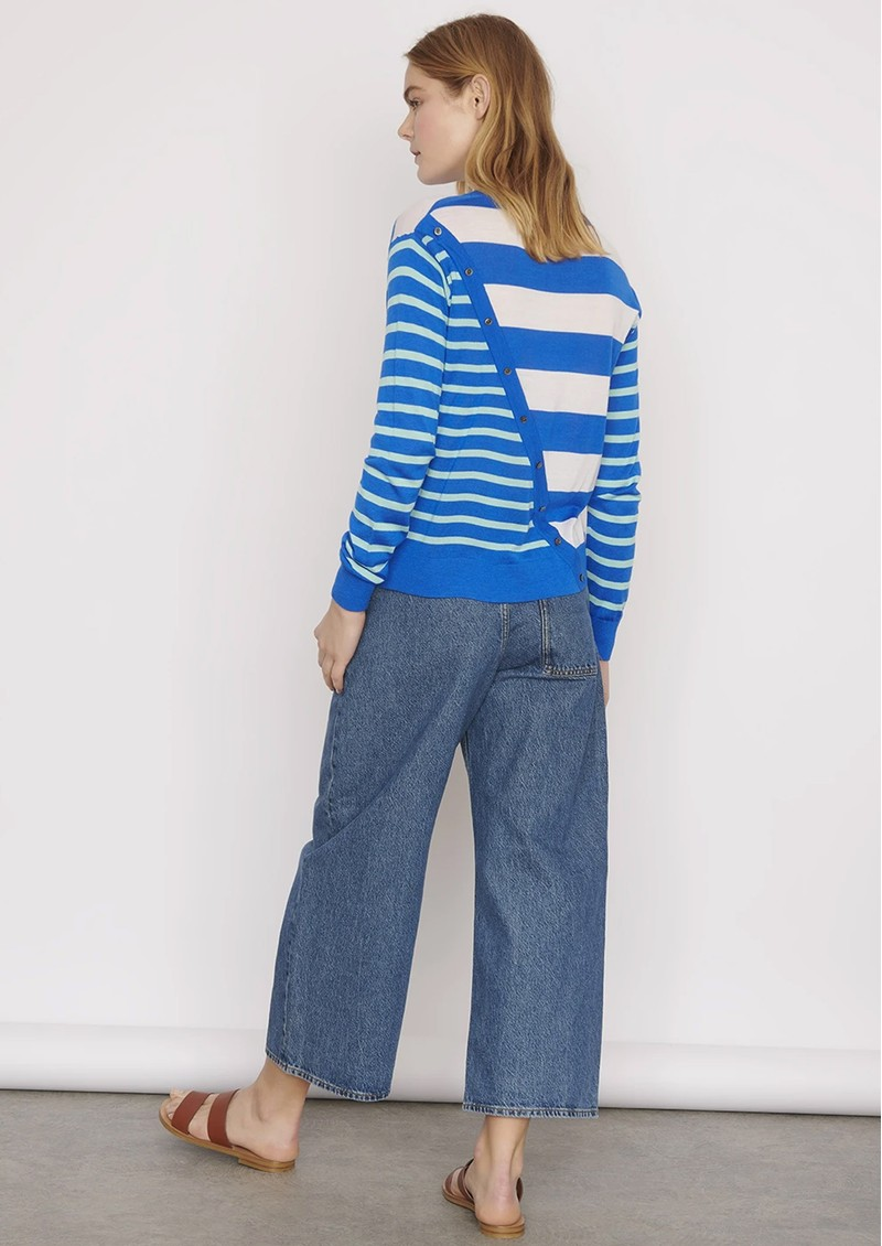 Alexa Striped Merino Wool Mix Jumper - Electric main image