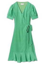COCOA CASHMERE Martha Polka Dot Silk Dress - Parakeet