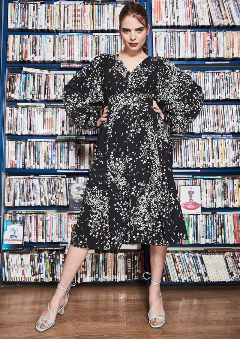 IDANO Alba Printed Midi Dress - Black main image