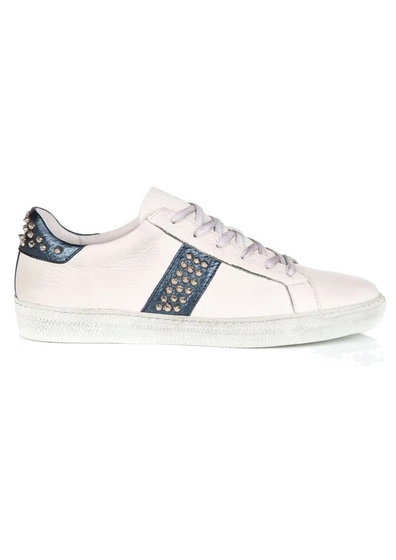 AIR & GRACE Cru Leather Studded Trainer - White & Navy main image