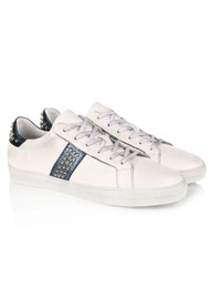 AIR & GRACE Cru Leather Studded Trainer - White & Navy