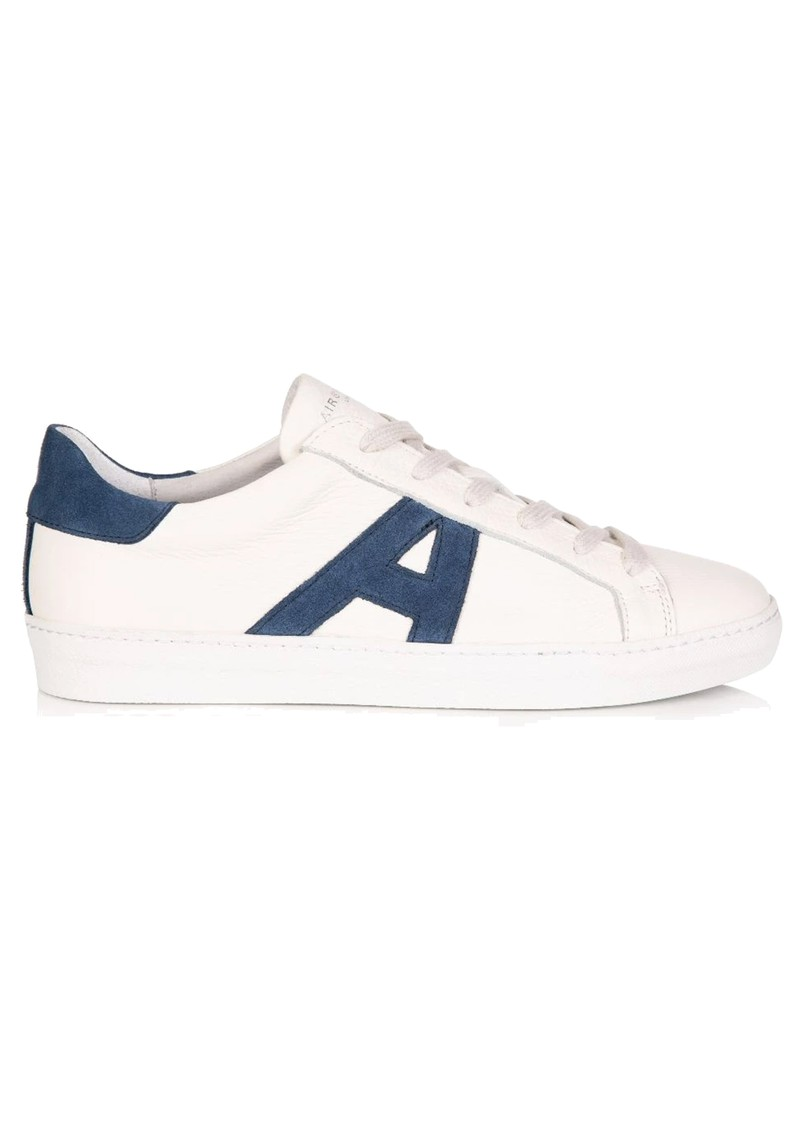 AIR & GRACE Signature Cru Trainers - White & Navy Suede main image
