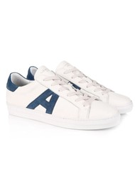 AIR & GRACE Signature Cru Trainers - White & Navy Suede