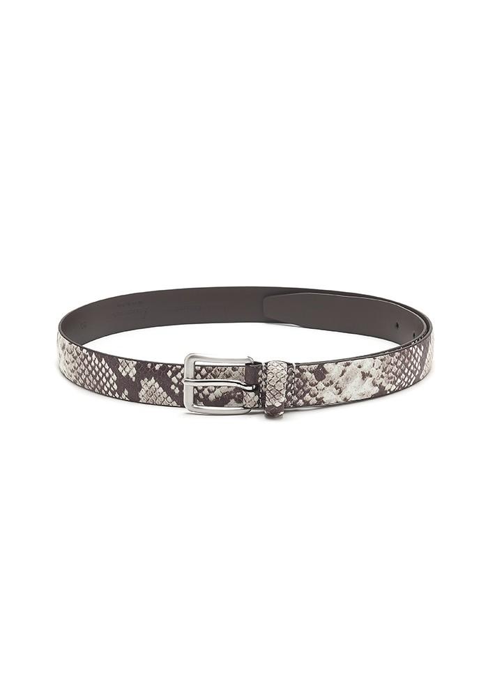 ANDERSONS Snake Skin Leather Belt - Ivory & Black main image