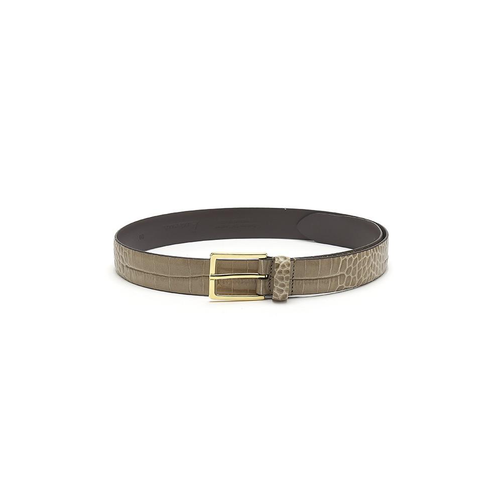 Mock Croc Leather Belt - Moss Green