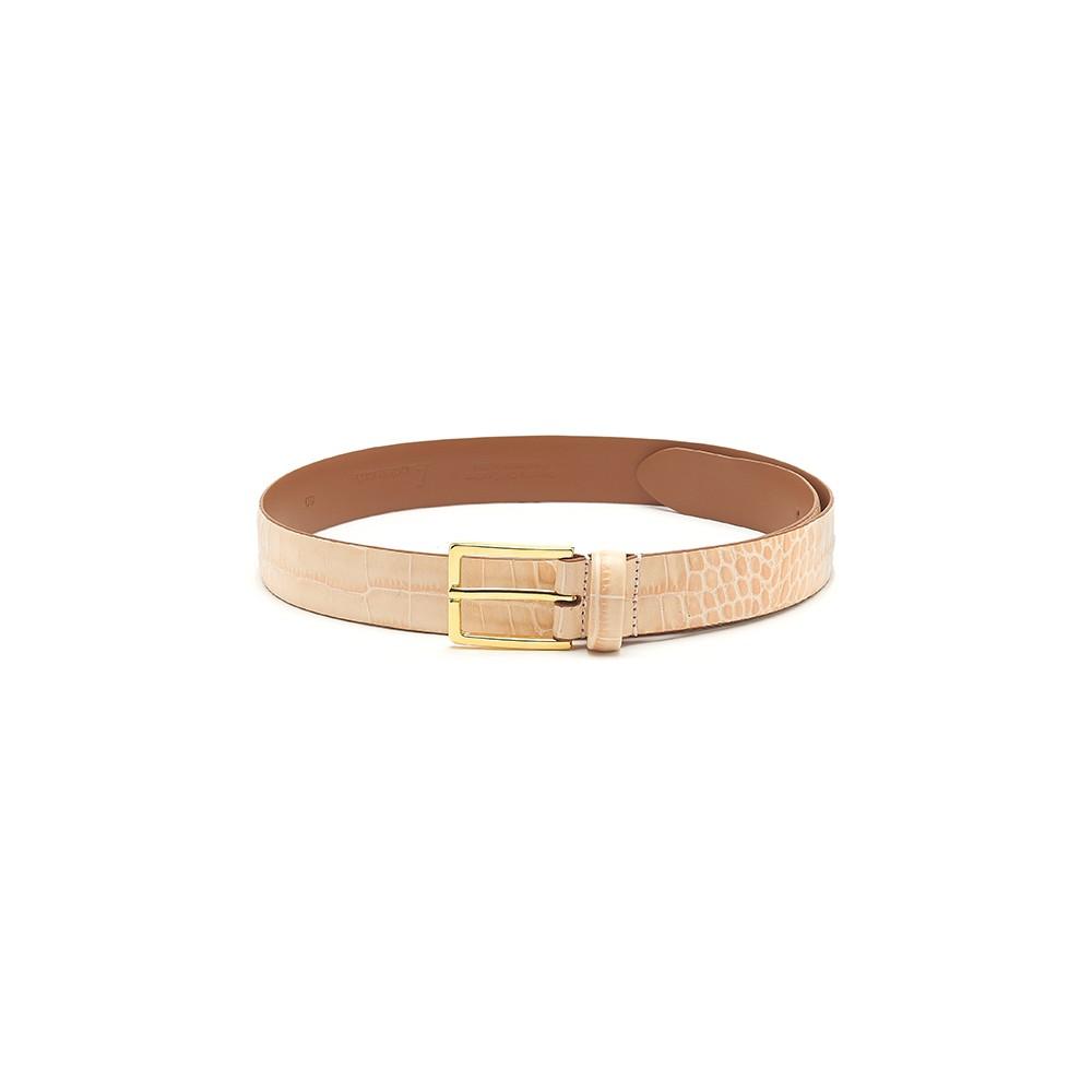 Mock Croc Leather Belt - Beige