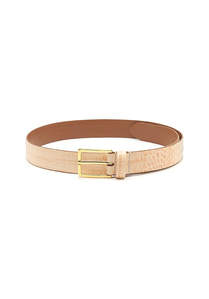 ANDERSONS Mock Croc Leather Belt - Beige  main image