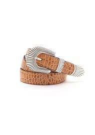 ANDERSONS Mock Croc Leather Belt - Light Tan