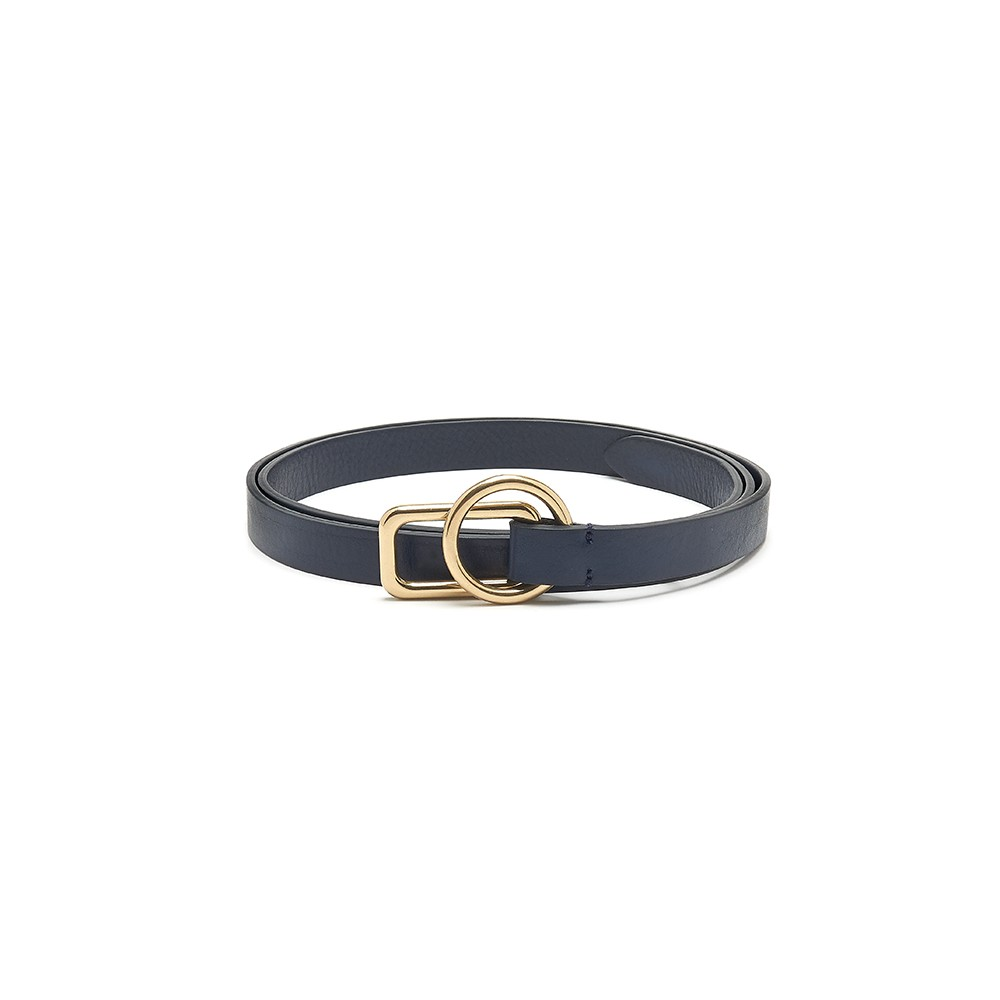 Slim Leather Circle Rectangle Buckle Belt - Navy