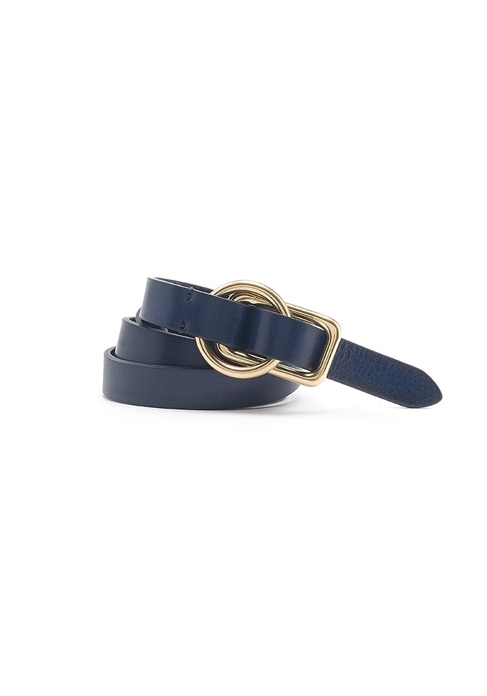 ANDERSONS Slim Leather Circle Rectangle Buckle Belt - Navy main image