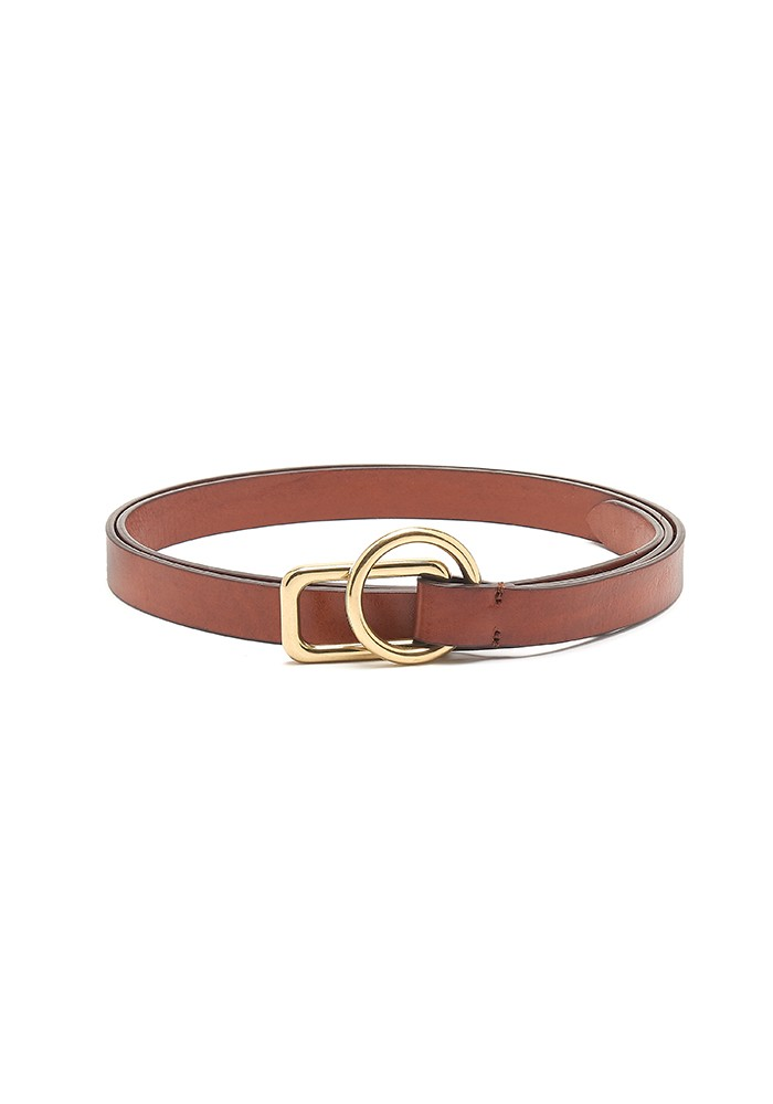 ANDERSONS Slim Leather Circle Rectangle Buckle Belt - Brown main image