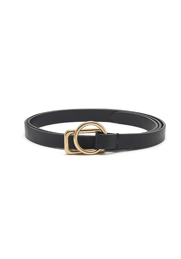 ANDERSONS Slim Leather Circle Rectangle Buckle Belt - Black main image