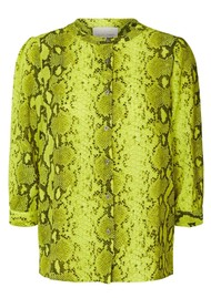 LOLLYS LAUNDRY Amalie Python Printed Shirt - Neon Yellow
