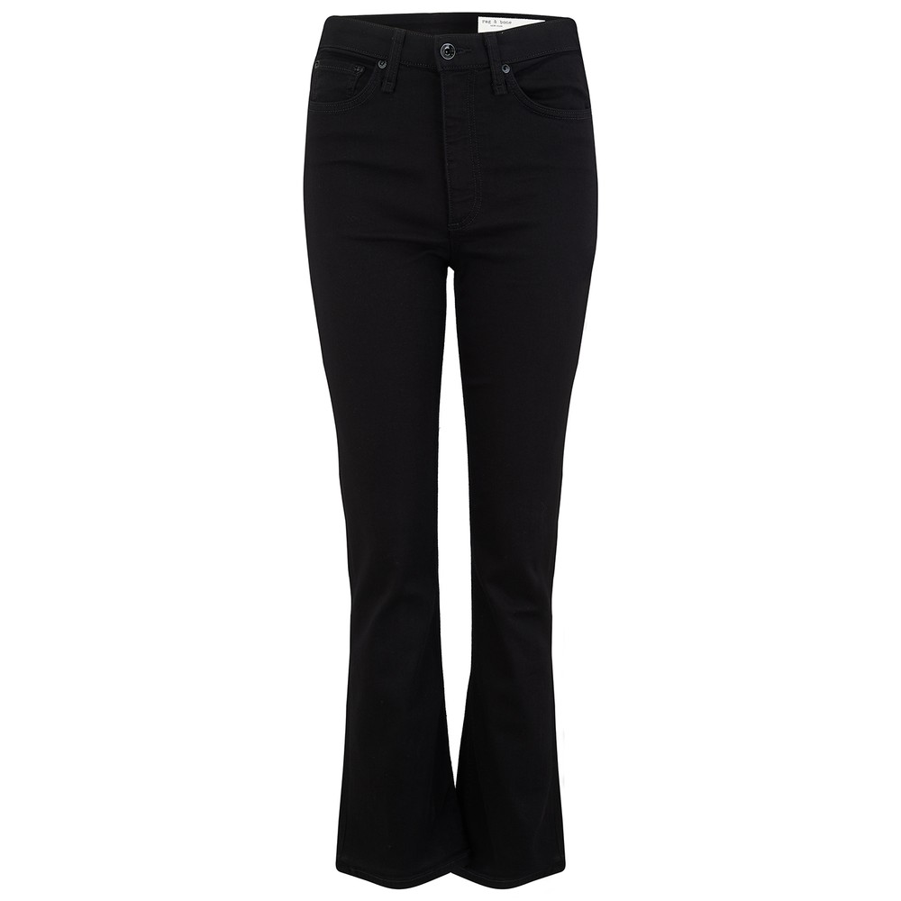 Nina High Rise Ankle Flare Jeans - No Fade Black