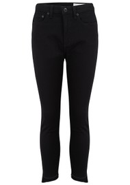 RAG & BONE Nina High Rise Ankle Skinny Stepped Hem Jeans - Black Hampton