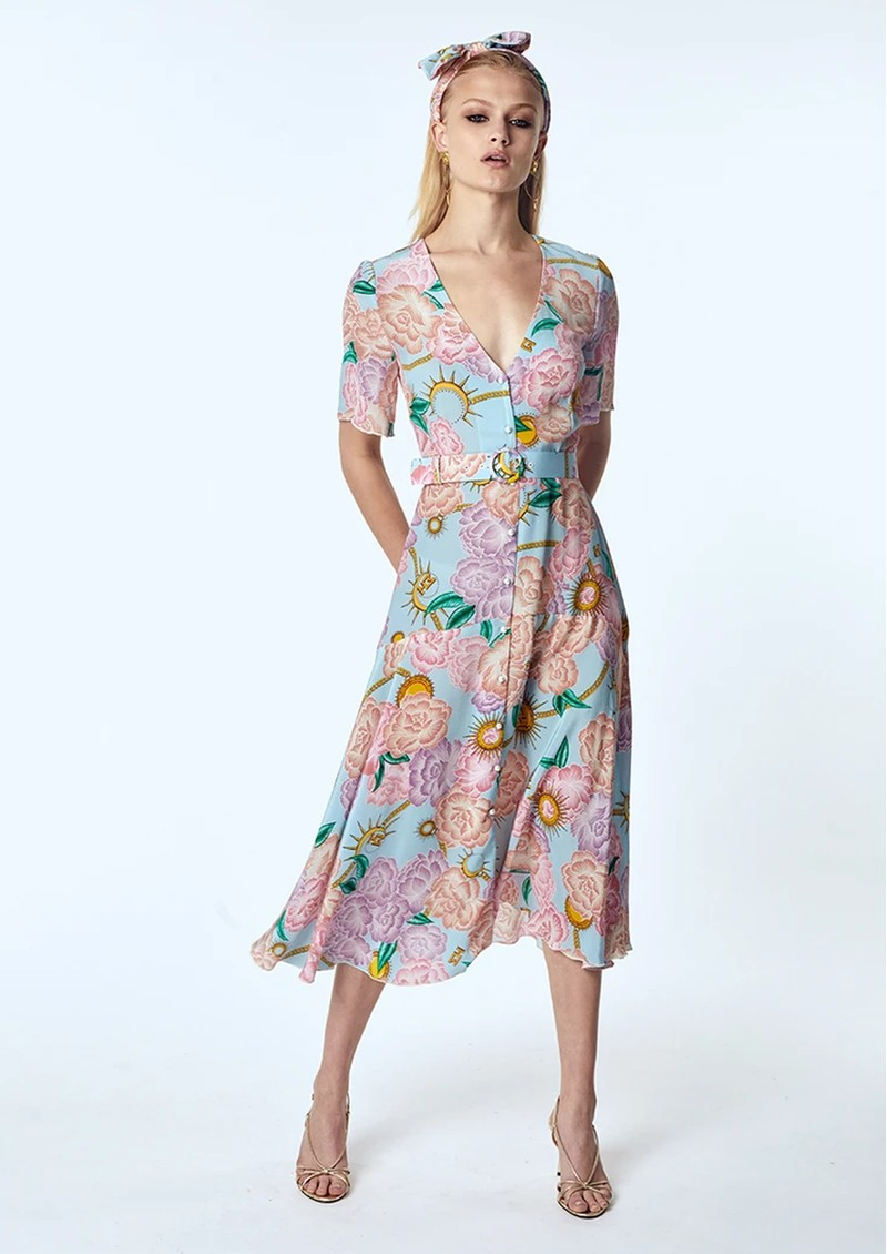 HAYLEY MENZIES Midi Belted Silk Dress - Luna Floral main image