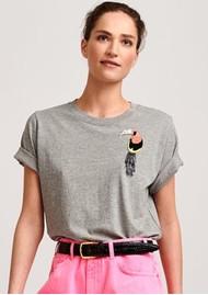 ESSENTIEL ANTWERP Voctail2 Toucan Embroidered Cotton T-Shirt - Grey Shadow
