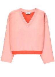 ESSENTIEL ANTWERP Viki V Neck Sweater - Pink & Orange