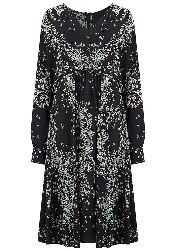 IDANO Alba Printed Midi Dress - Black main image