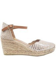 KANNA Laura Metallic Wedge Espadrille - Ivory