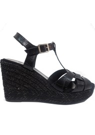 KANNA Ines20 Margarita Leather Wedge Espadrille - Black