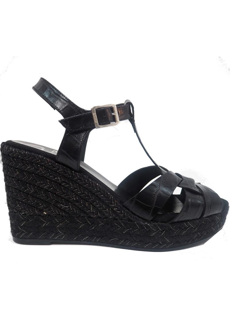 KANNA Ines20 Margarita Leather Wedge Espadrille - Black main image