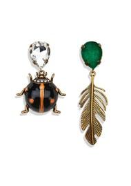 ESSENTIEL ANTWERP Valessi Beetle And Leaf Earrings - Black & Green