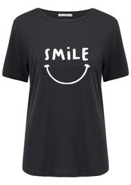 SOUTH PARADE Lola Smile Cotton T-Shirt - Black