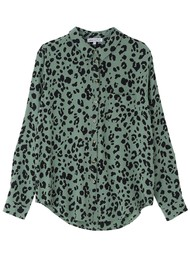 Lily and Lionel Classic Silk Shirt - Sage Leopard