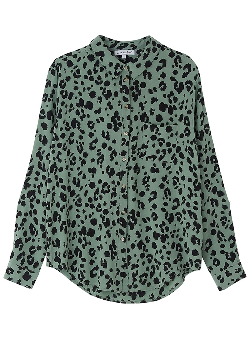 Lily and Lionel Classic Silk Shirt - Sage Leopard main image