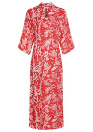 FABIENNE CHAPOT Kim Lou Fitted Print Dress - Cool Coral