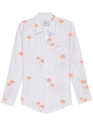 Rails Charli Linen Shirt - Rose Gold Palm Trees