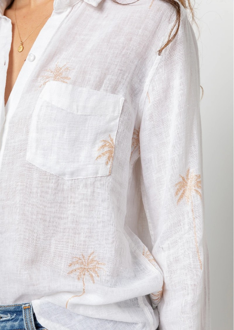 Rails Charli Linen Shirt - Rose Gold Palm Trees main image