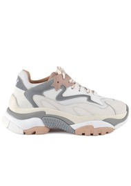 Ash Addict Chunky Leather Trainers - White, Dune & Silver