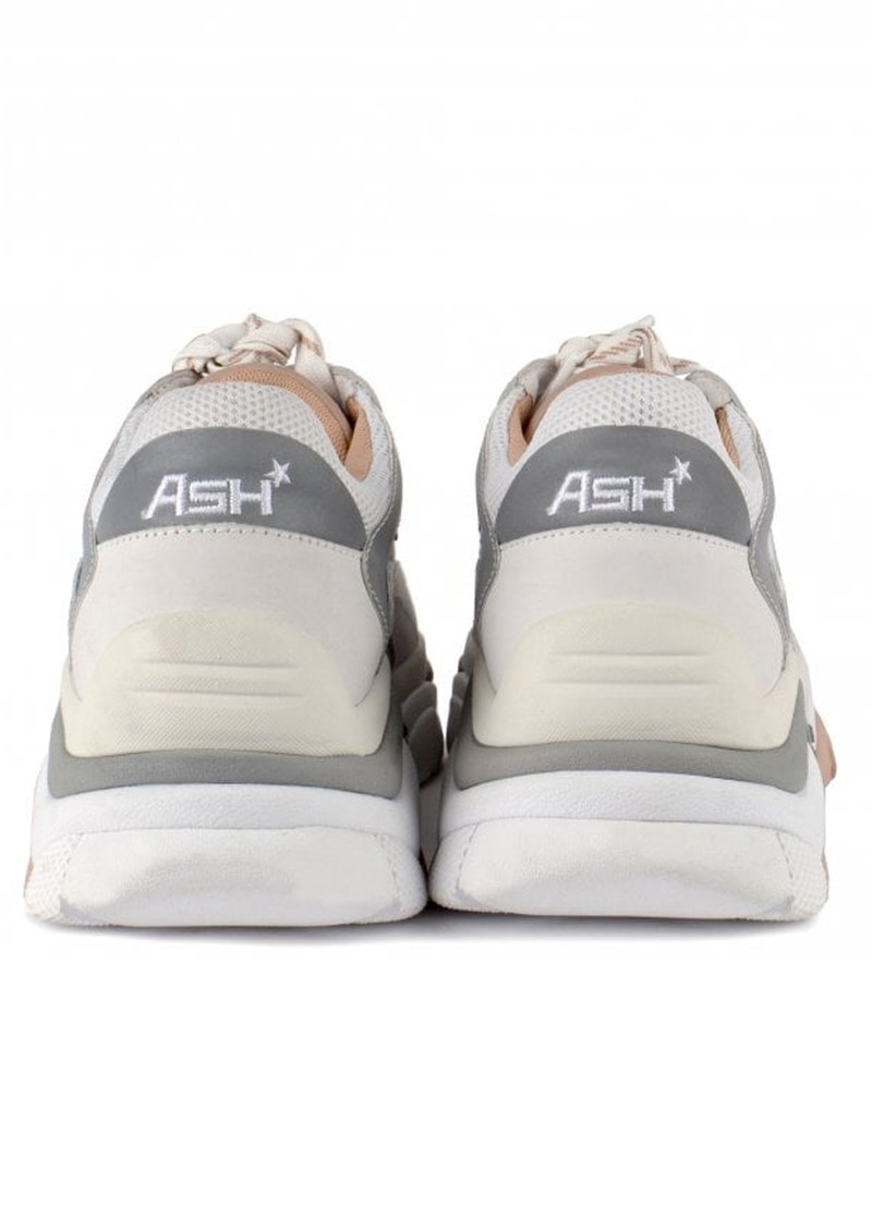 Ash Addict Chunky Leather Trainers - White, Dune & Silver main image