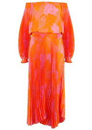SFIZIO Off The Shoulder Long Pleated Dress - Orange & Pink