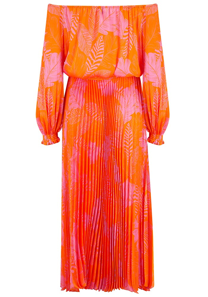 SFIZIO Off The Shoulder Long Pleated Dress - Orange & Pink main image