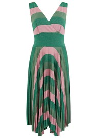 SFIZIO Marghe Striped Lurex Dress - Green & Pink