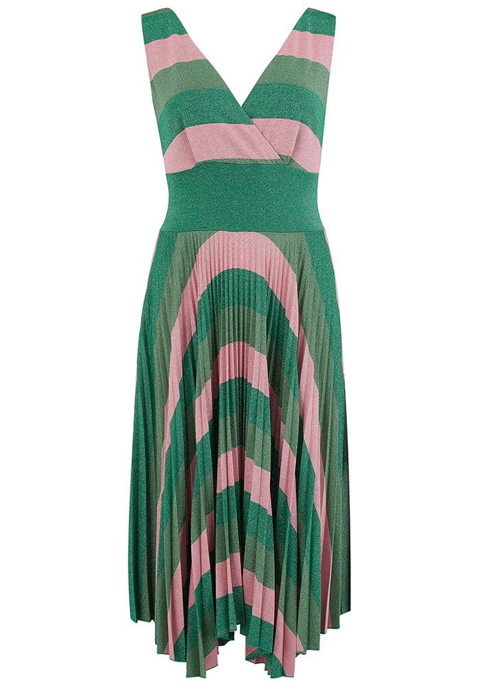 SFIZIO Marghe Striped Lurex Dress - Green & Pink main image