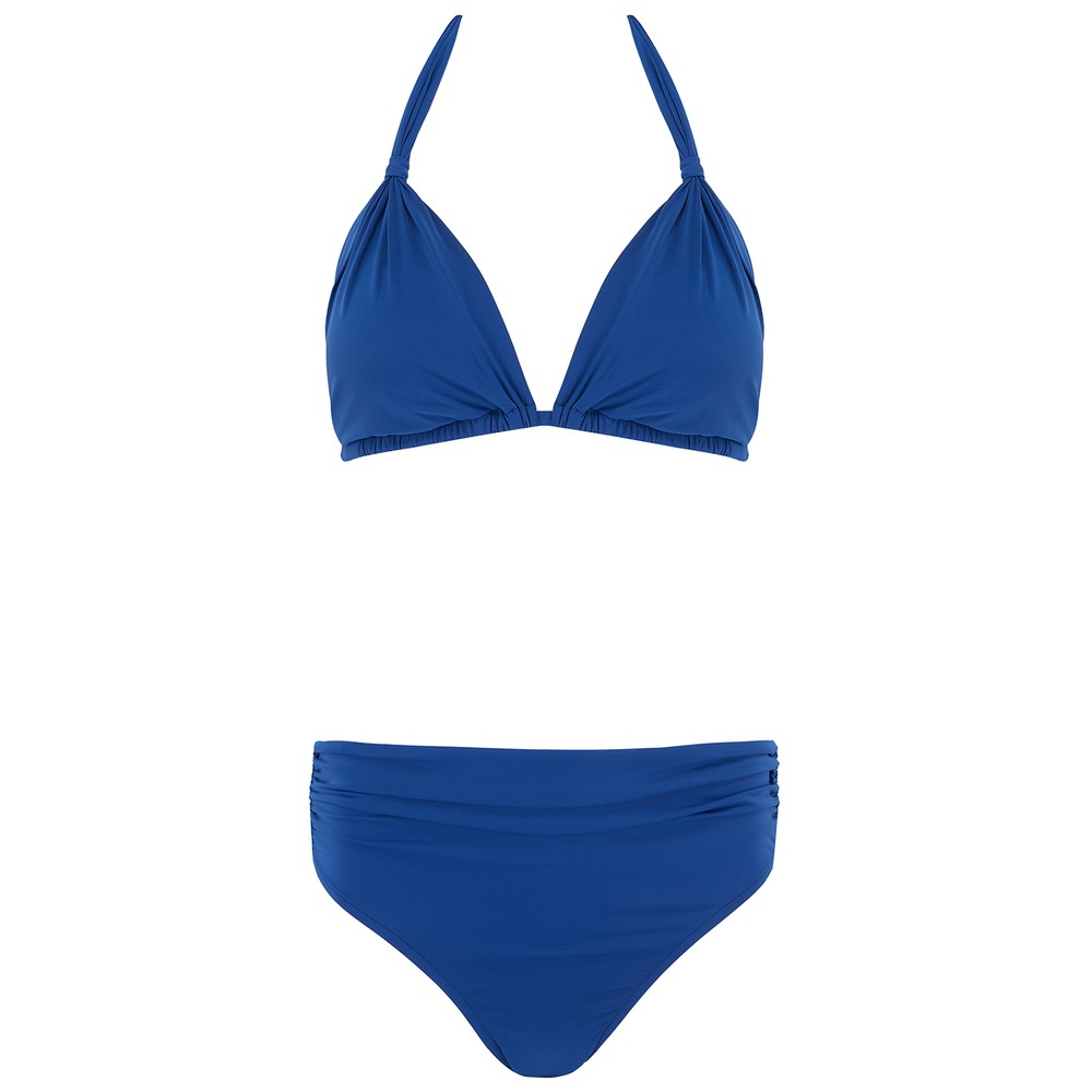 Adjustable Padded Ruched Bikini - Royal Blue