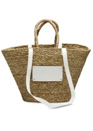 NUNOO Large Straw Beach Bag - White